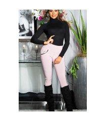 sexy thermo legging met decoratieve zakken roze