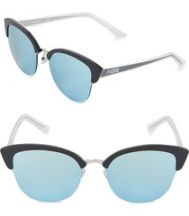 aqs women's tinted 70mm clubmaster sunglasses - black charcoal