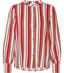 dhelena stripe shirt blus långärmad röd denim hunter