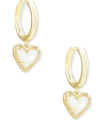 women's kendra scott ari heart huggie hoop earrings