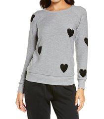 women's chaser print sweatshirt, size small - grey