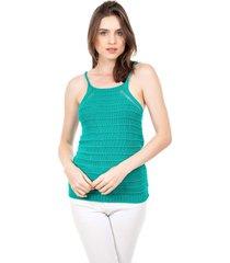 tricã´ blusa regata pink tricot alã§a verde ãgua - verde - feminino - dafiti
