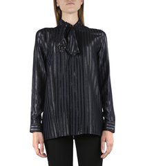 saint laurent blue silk shirt with striped pattern