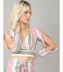 blusa feminina cropped transpassada listrada manga longa com vazado decote v rosê