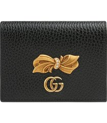 gucci leather card case with bow - black
