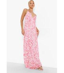 zwangerschap tie dye maxi jurk, coral
