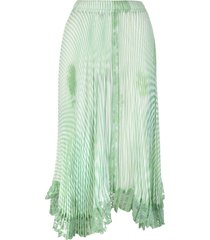 ermanno scervino pleated midi skirt with green and white stripes pattern