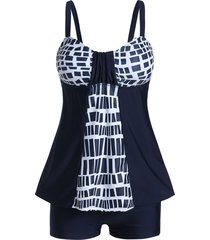 geometric skirted tankini swimsuit