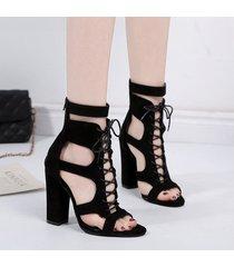 womens sexy open toe lace up sandalias de tacón alto chunky block