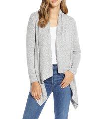 women's bobeau amie waterfall knit cardigan, size x-small - grey