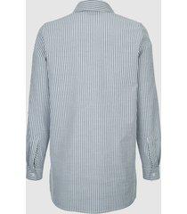 randig skjorta dress in marinblå::vit