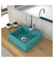 cuba de apoio para banheiro compace q355w quadrada azul turquesa