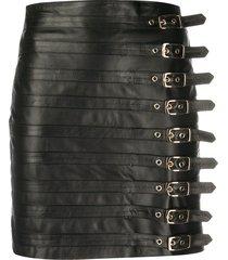 manokhi leather buckle detail mini skirt - black