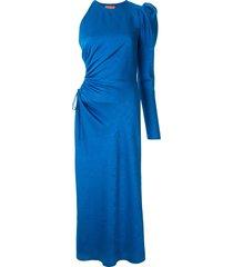 manning cartell asymmetric sleeve structured shoulder dress - blue
