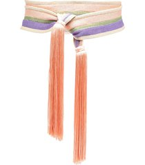 forte forte tasseled crochet sash belt - pink