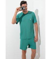 pijama de pijama acuo manga curta safári masculino