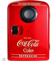 coca-cola portable 6 can thermoelectric mini fridge cooler/warmer with bluetooth speaker, 4 l/4.2 quarts capacity, 12v dc/110v ac for home, dorm, car, boat, beverages, snacks, skincare, cosmetics, medication