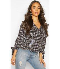geo print button ruffle blouse, dark navy