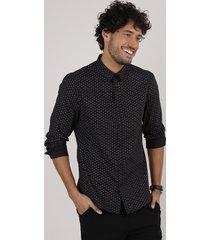 camisa masculina slim fit estampada floral manga longa preta