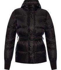 quilted down jacket with belt