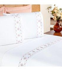jogo de cama  enxovais aquarela king 4 peças branco/salmão damasco