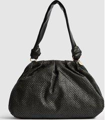 reiss ellena - raffia pouch shoulder bag in black, womens