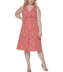 vince camuto plus size pleated-front dress