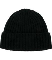 n.peal chunky ribbed knit beanie - black