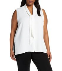 plus size women's ming wang tie neck blouse
