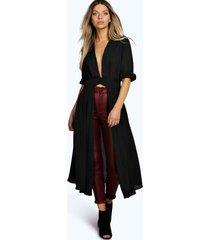 maxi blouse met split en laag uitgesneden decolleté, zwart