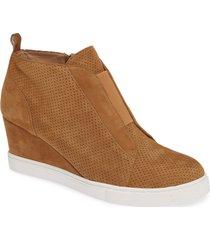 women's linea paolo 'felicia' wedge sneaker, size 4.5 m - beige