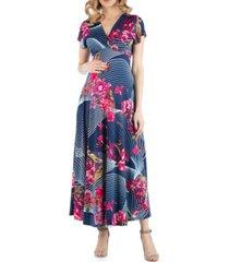 24seven comfort apparel maternity empire waist v neck floral print maxi dress
