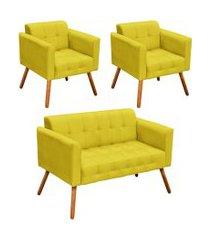 conjunto sofá retrô 2 lugares e 02 poltronas elisa suede amarelo - d'rossi