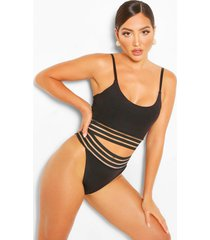 mesh detail tanga bikini brief, black