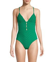 cutout textured one-piece swimsuit