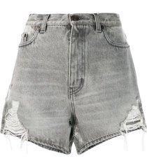 sandy grey distressed denim shorts
