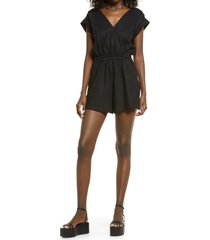 open edit linen blend romper, size xx-small in black at nordstrom