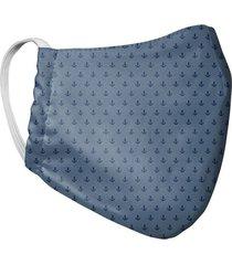 tapabocas mascara para hombre doble capa estampado anclas tela antifluido - azul
