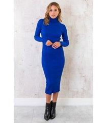 ribstof jurk met col kobalt
