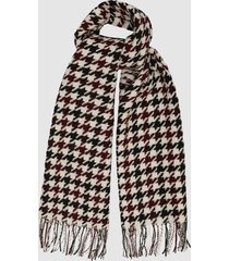 reiss tori - houndstooth wool scarf in burgundy, womens