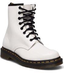 1460 w black patent lamper shoes boots ankle boots ankle boot - flat vit dr. martens