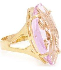 anel banho de ouro cristal navete