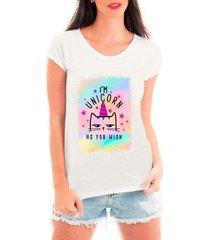 camiseta bata criativa urbana unicórnio gato como você deseja - feminino