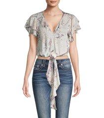 vintage havana women's printed flutter-sleeve blouson crop top - two tone snake - size m