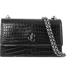 jimmy choo black croc-embossed leather clutch bag
