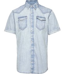ams blauw short sleeve denim western shirt with seasonal was kortärmad skjorta blå scotch & soda