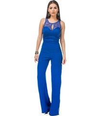 macacã£o celestine renda azul - azul/azul marinho - feminino - dafiti