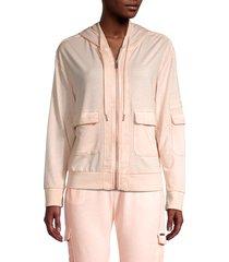 max studio performance women's maui zip hoodie - peach - size m