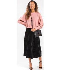clarah satin pleated maxi skirt - black