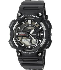reloj casio aeq-110w-1a para caballero  negro/ plateado